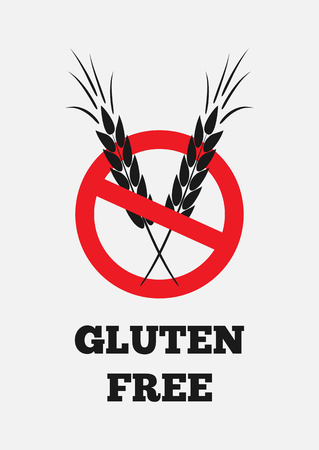 spica: Text Gluten Free, Wheat, prohibitory sign. Isolated label. Vertical.