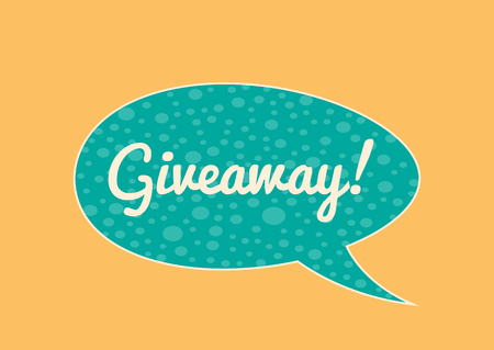 giveaway: Isolated sticker with the inscription Giveaway! bright bubble speech. Horizontal banner. Blue, white, orange.