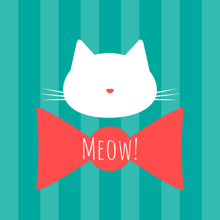 meow: Silhouette of a cats head. Bow and text Meow! Background with vertical stripes. Blue, white, pink. Illustration