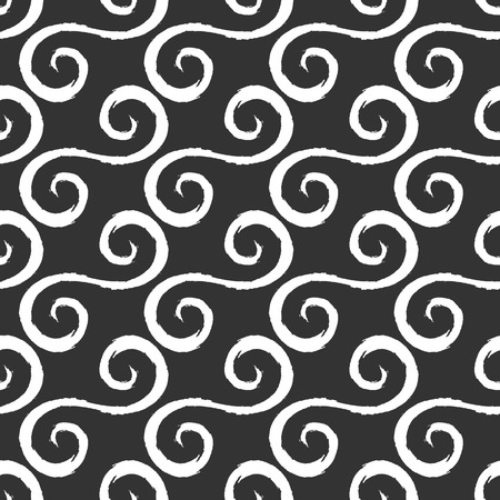 curlicues: White curlicues drawn with a rough brush. Black background. Seamless pattern. Simple grunge ornament. Illustration