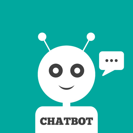 The head of the robot with antennas, message in a rectangular speech bubble, text Chatbot. Vector illustration. Blue, white, dark gray.