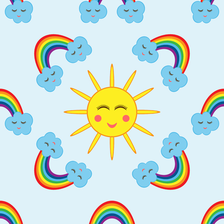 The sun surrounded by clouds and a rainbow. Cartoon seamless pattern. Childrens color template.