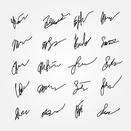 Set of abstract signatures. Unreadable autographs. Twenty isolated templates. Drawn by hand. Vector illustration. Illustration