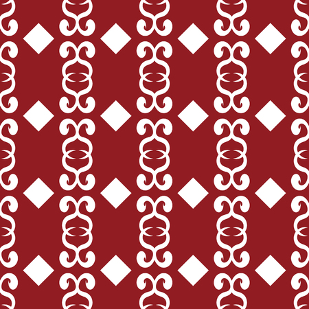 Seamless ornament with curls. Repeating geometric pattern. Vector illustration. Red, white. Illustration