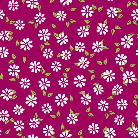 抽象的な花と葉のシルエット。簡単なシームレスな花模様。カラフルな無限の背景。紫、緑、白。ベクトルの図。