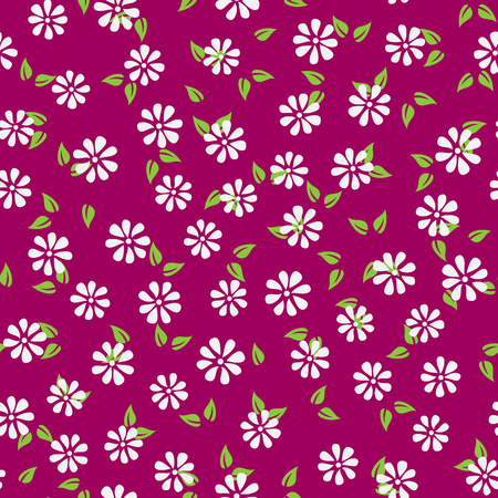 Silhouettes of abstract flowers and leaves. Simple seamless flower pattern. Colorful endless background. Purple, green, white. Vector illustration. Illustration