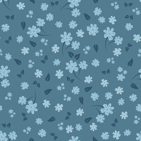 Motif floral sans soudure. Petites fleurs et feuilles. Nuances de bleu. Modèle pour la conception de textiles pour vêtements pour femmes, papier d'emballage, rideaux, linge de lit. Illustration vectorielle