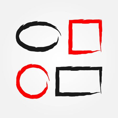 torn: Set of torn frames painted with a rough brush. Round, square, rectangular, oval frameworks. Red and black isolated borders.
