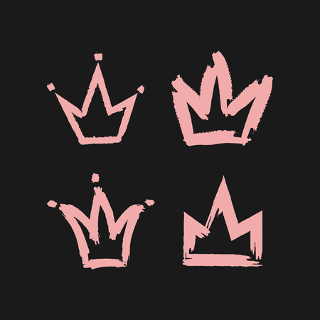 Crown painted with a rough brush. Four pink icons isolated on black background. Vector illustration. Grunge.