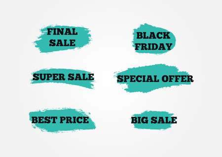 Set of stickers Final Big Super Sale, Black Friday, Special Offer, Best Price. Background of blue brush strokes. Grunge. Vector illustration. Six isolated advertising signs. Illustration