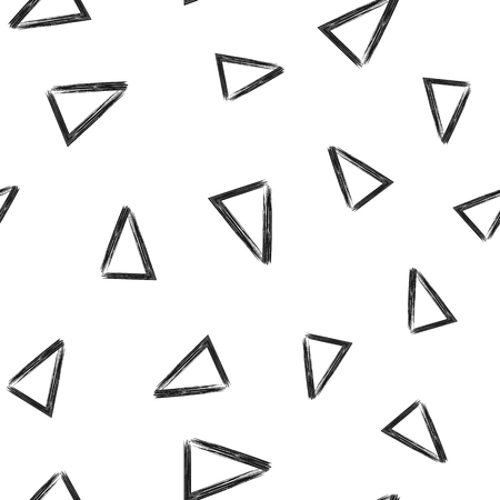 trigonal: Triangles drawn with a rough brush. Seamless pattern. Sketch, grunge. Vector illustration. Black, white. Illustration
