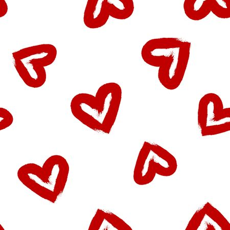 hearts drawn watercolor brush. Seamless pattern. Grunge, sketch, graffiti. Vector illustration. Red, white color. Illustration