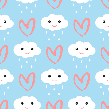 Clouds with a smiling face and raindrops. Heart drawn by hand brush strokes. Cute seamless pattern. Blue, white, pink. Vector illustration.