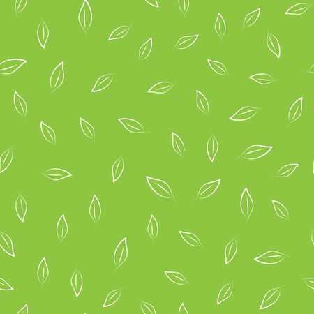 The outlines of the leaves are drawn by hand. Seamless pattern. Vector illustration. Green, white color. Illustration