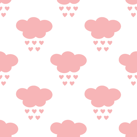 Silhouettes of clouds with raindrops in the form of hearts. Cartoon seamless pattern. Vector illustration. White, pink color.