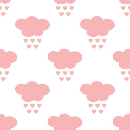 Silhouettes de nuages ??avec des gouttes de pluie en forme de coeurs. Modèle sans couture de dessin animé. Illustration vectorielle Blanc, couleur rose.