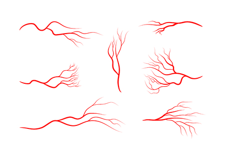 Set of abstract veins, blood vessels, arteries, capillaries. Seven red icons isolated on white background. Vector illustration.