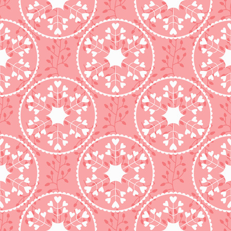 frill: Floral pattern with silhouettes of branches and abstract round flowers. Petals in the form of hearts, decorative frames. Feminine seamless pattern. Vector illustration. Pink, white color. Illustration