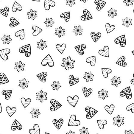 抽象的な丸い花とハートの装飾が施されたアウトライン。シームレス パターン。白い背景の分離された黒い要素が散乱。ベクトルの図。