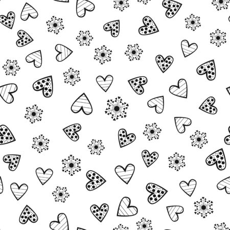 Abstract round flowers and decorated outlines of hearts. Seamless pattern. Randomly scattered black elements isolated on white background. Vector illustration. Фото со стока - 78748007