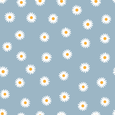 Seamless floral pattern. White daisies on a blue background. Cartoon vector illustration.
