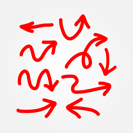 lefthand: Set of red arrows. Drawn by hand. Doodle, sketch. Vector illustration. Nine isolated elements.