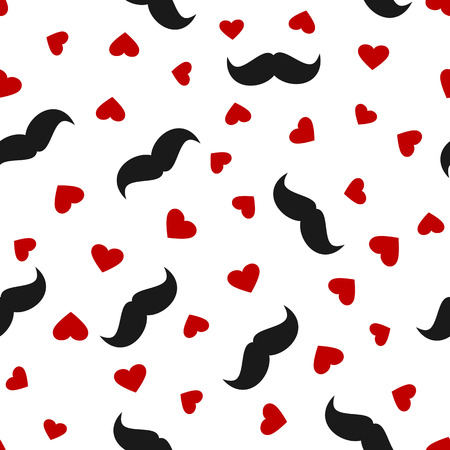 whiskers: Silhouettes of black mens mustaches and red hearts scattered on a white background. Seamless pattern. Vector illustration. Illustration