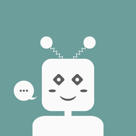 virtual assistant: Smiling Chatbot with a speech bubble. Friendly Chat Bot.