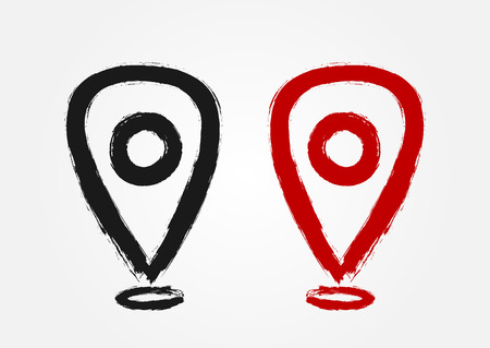 Map pointer drawn by hand with a rough brush. Icon location sign. Red and black isolated symbol. Grunge, sketch, ink, graffiti. Vector illustration. Illustration