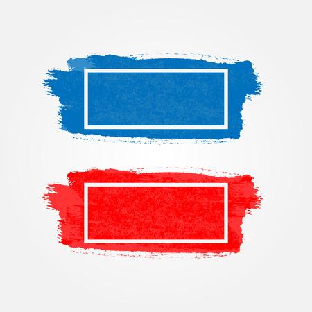 Kleur penseelstreek met kader voor tekst. Horizontale rechthoekige aquarel achtergrond. Blauwe en rode sjabloon. Vector illustratie.