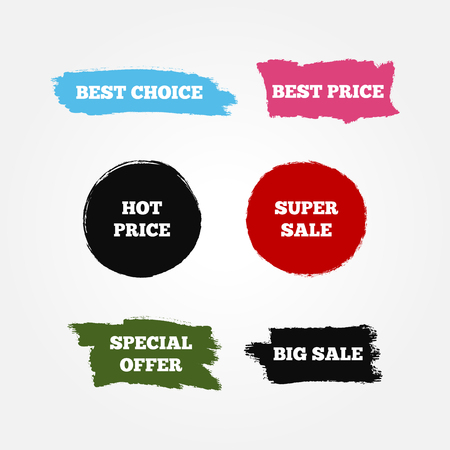 super market: Stickers, logo, signs with text Best Choice, Hot Price, Big Super Sale, Special Offer. Set of six colored isolated symbols. Blue, purple, black, red, green, white colour.