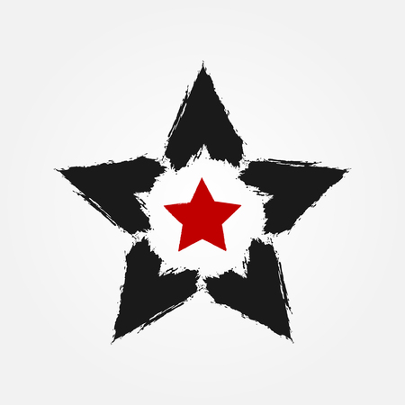 Star drawn with a rough brush. Grunge, sketch, graffiti. Black, red color. Vector illustration. Illustration