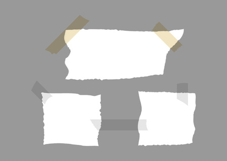 square tape: Set of torn paper with pieces of adhesive tape. Vector illustration. White, gray, brown.