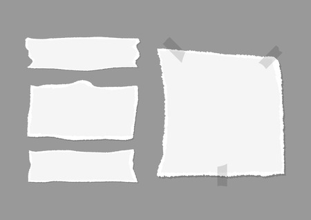 square tape: Set of pieces of torn paper with shadow and adhesive tape. Isolated on a dark gray background. Vector illustration.