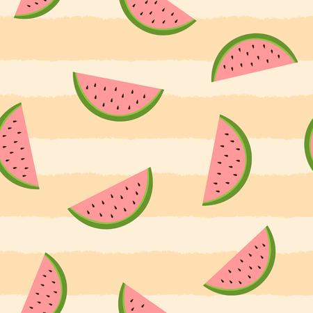 Naadloos patroon met watermeloenplakken. Gestreepte achtergrond met de hand geschilderd met een ruwe borstel. Vector illustratie. Roze, groene, beige kleur.