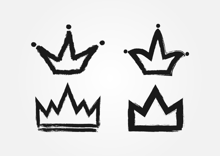 Set of crowns drawn by hand with a rough brush. Grunge, sketch, graffiti. Isolated black icons, logos, symbols. Vector illustration.
