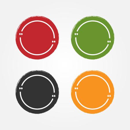 Zestaw naklejek grunge dla cytatów. Okrągłe tło i ramka tekstu z cytatami. Farba, atrament, szkic, akwarela. Mieszkanie. Czerwony, zielony, czarny, pomarańczowy na białym tle znak. Ilustracji wektorowych.