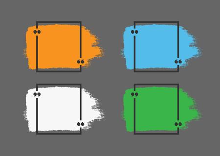 Szablony cytatów. Pociągnięcia pędzlem i czarną ramką dla tekstu z cudzysłowami. Grunge, farba, akwarela. Pomarańczowy, niebieski, biały, zielony element wyizolowanych na ciemnoszarym tle. Ilustracji wektorowych.
