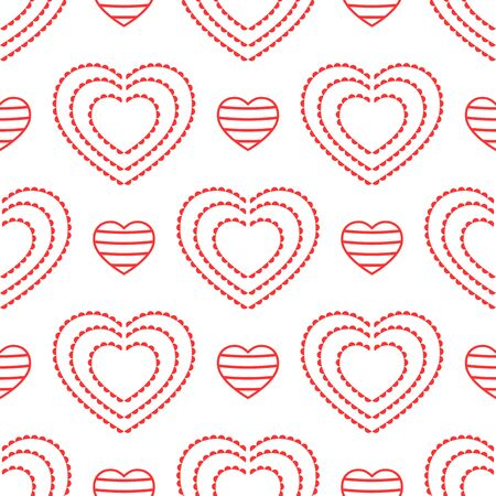 Striped and openwork hearts. Seamless pattern for women. Cute vector illustration. Illustration