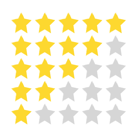 Five-star rating. Gold and gray stars painted with a rough brush. Grunge, sketch, graffiti. Drawn by hand. Vector illustration.