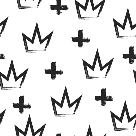 Seamless grunge pattern with crowns and crosses painted by brush. Sketch, graffiti, watercolor. Vector illustration. Illustration