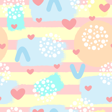 Cute abstract seamless pattern with hearts, brush strokes and geometric shapes. Sketch, grunge. Drawn by hand. Girly vector illustration.
