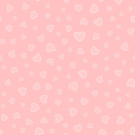 Randomly scattered hearts. Cute seamless pattern. Girly vector illustration.