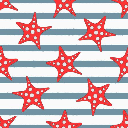 Estrellas de mar sobre fondo de rayas. Lindo mar de patrones sin fisuras. Ilustración vectorial Ilustración de vector