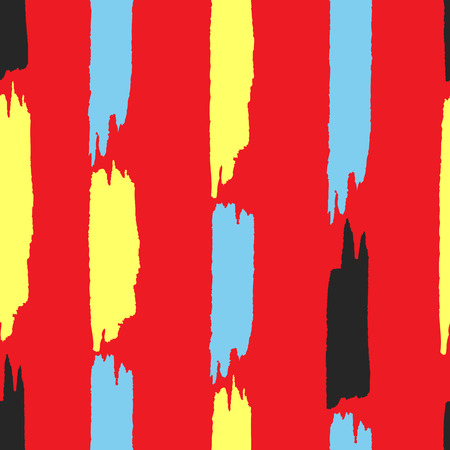 Seamless pattern with vertical brush strokes. Grunge, watercolor, sketch. Red, yellow, blue, black color. Vector illustration. Illustration