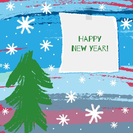 Carte de Noël pour enfants carrés. Dessin à la main et note bonne année! Aquarelle, croquis, peinture, grunge. Illustration vectorielle Banque d'images - 91322425