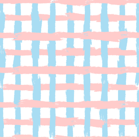 Checkered seamless pattern. Grid drawn on rough brush. Sketch, watercolor, paint. Pink, blue, white color. Vector illustration.