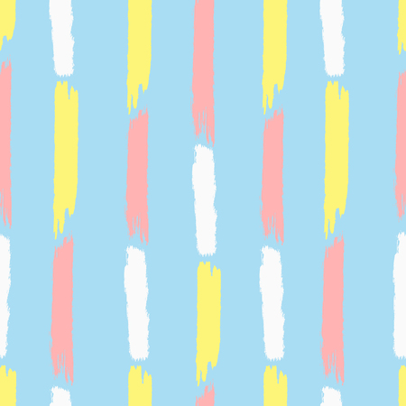 Vertical stripes painted with brush strokes. Cute seamless pattern. Grunge, sketch, watercolor. Vector illustration. Blue, yellow, white, pink color.