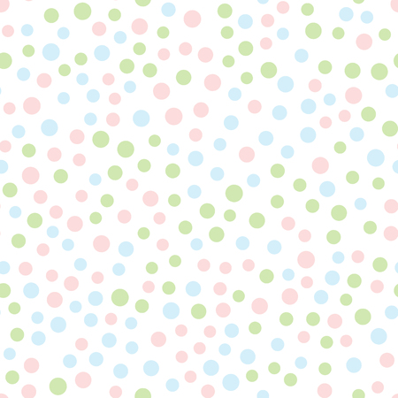 Borderless, repeated pattern with round dots in Pink, blue, green circles scattered on white background; Drawn by hand in pastel colors. 矢量图像