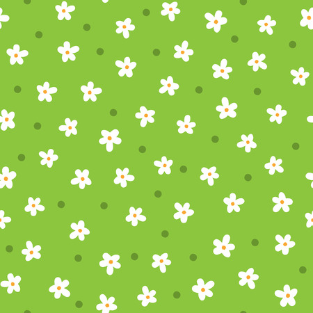 Cute daisies drawn by hand in Cartoon floral seamless pattern in White, orange, green color.